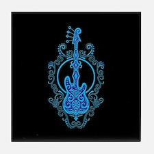 Intricate Blue Bass Guitar Design on Black Tile Co