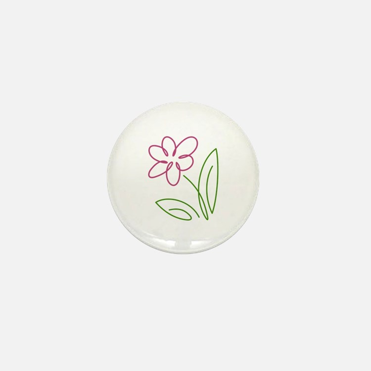 Pink Flower Mini Button