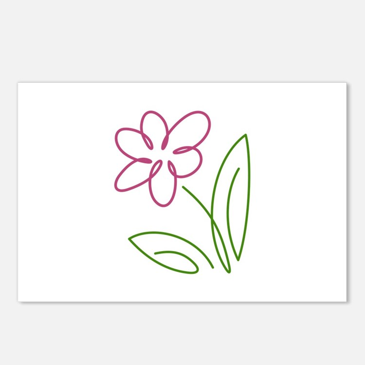 Pink Flower Postcards (Package of 8)