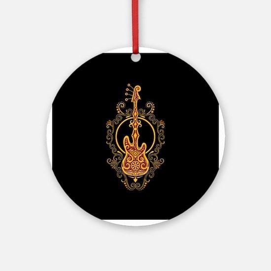 Intricate Golden Red Bass Guitar Design Ornament (