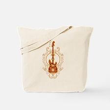 Intricate Golden Red Bass Guitar Design Tote Bag