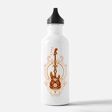 Intricate Golden Red Bass Guitar Design Water Bott
