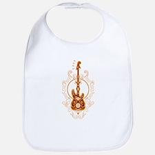 Intricate Golden Red Bass Guitar Design Bib