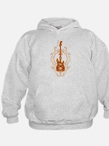 Intricate Golden Red Bass Guitar Design Hoodie