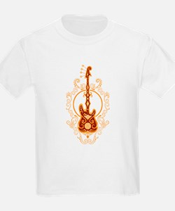 Intricate Golden Red Bass Guitar Design T-Shirt