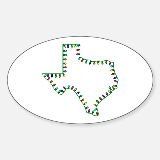 Texas Christmas Lights Oval Decal