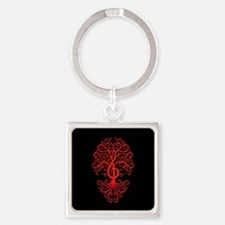 Red Treble Clef Tree of Life on Black Keychains