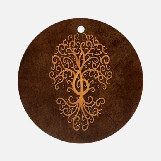 Brown Treble Clef Tree of Life Ornament (Round)