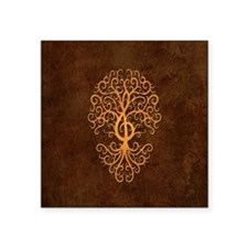 Brown Treble Clef Tree of Life Sticker