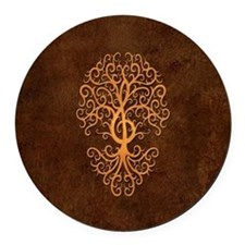 Brown Treble Clef Tree of Life Round Car Magnet