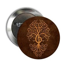 """Brown Treble Clef Tree of Life 2.25"""" Button"""