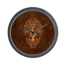Brown Treble Clef Tree of Life Wall Clock