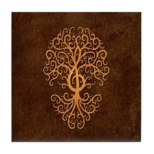 Brown Treble Clef Tree of Life Tile Coaster