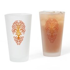 Red Treble Clef Tree of Life Drinking Glass