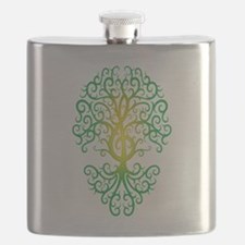 Green Treble Clef Tree of Life Flask