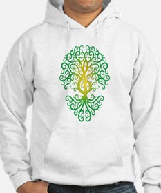 Green Treble Clef Tree of Life Hoodie Sweatshirt