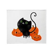Black Cat and Pumpkin Heads Throw Blanket