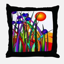 Whimsical Plants Sunset Throw Pillow
