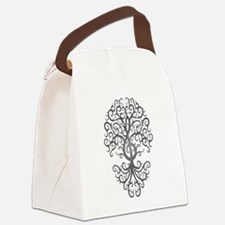 Dark Treble Clef Tree of Life Canvas Lunch Bag