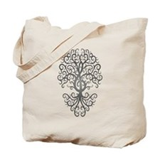 Dark Treble Clef Tree of Life Tote Bag