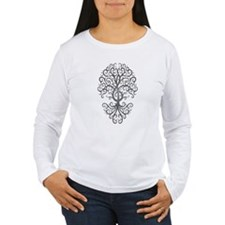 Dark Treble Clef Tree of Life Long Sleeve T-Shirt