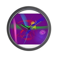 Purple Abstract Lines and Forms Wall Clock