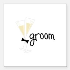"groom Square Car Magnet 3"" x 3"""