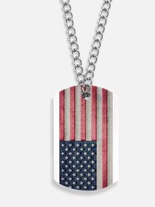 American Flag Metal Look Dog Tags