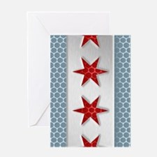 Chicago Flag Metal Look Greeting Cards