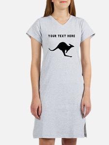 Custom Kangaroo Silhouette Women's Nightshirt