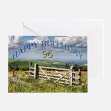 96th Birthday, a landscape with a gate Greeting Ca