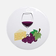 Wine And Cheese Ornament (Round)