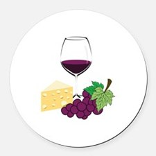 Wine And Cheese Round Car Magnet