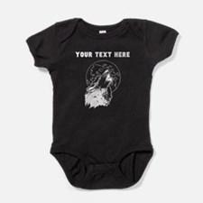 Custom Wolf Howling At Moon Baby Bodysuit
