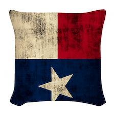 Grunge Flag of Texas Woven Throw Pillow