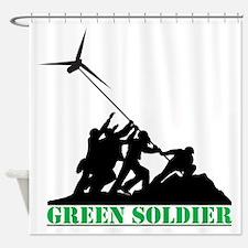 Green Soldier Wind Turbine Shower Curtain