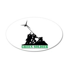 Green Soldier Wind Turbine 20x12 Oval Wall Decal
