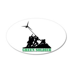 Green Soldier Wind Turbine 35x21 Oval Wall Decal