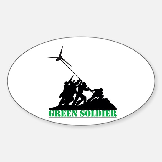 Green Soldier Wind Turbine Sticker (Oval)