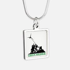 Green Soldier Wind Turbine Silver Square Necklace