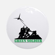 Green Soldier Wind Turbine Ornament (Round)