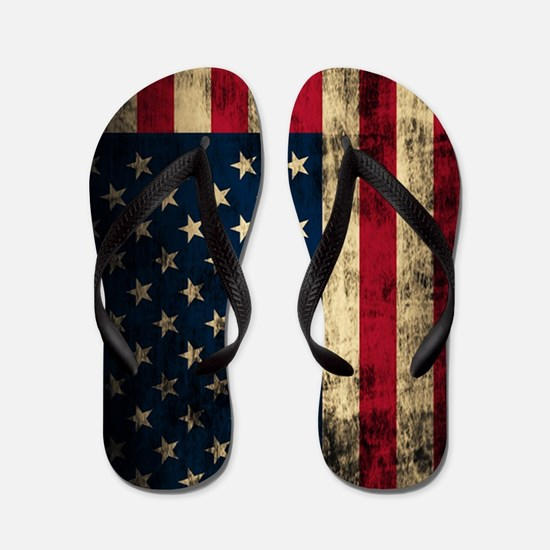 Vintage American Flag Grunge Flip Flops