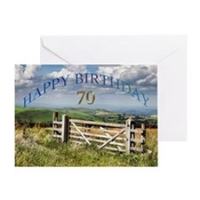70th Birthday, a landscape with a gate Greeting Ca