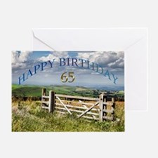 65th Birthday, a landscape with a gate Greeting Ca