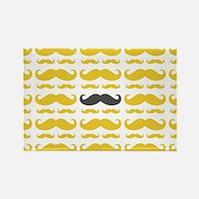 Yellow Grey Mustache Pattern Magnets