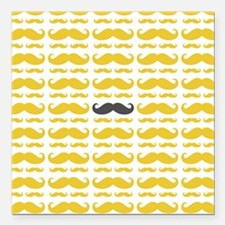 """Yellow Grey Mustache Pattern Square Car Magnet 3"""""""