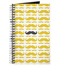 Yellow Grey Mustache Pattern Journal