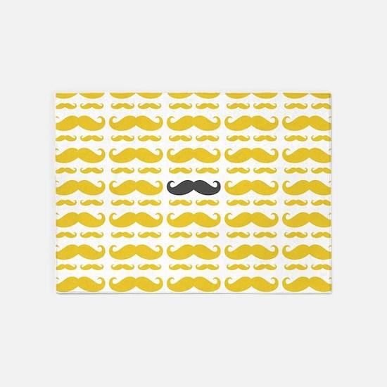 Yellow Grey Mustache Pattern 5'x7'Area Rug