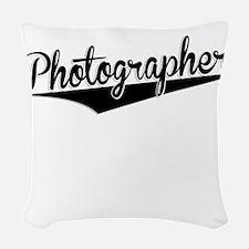 Photographer, Retro, Woven Throw Pillow