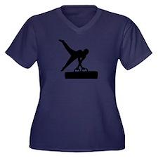 Gymnast pomm Women's Plus Size V-Neck Dark T-Shirt